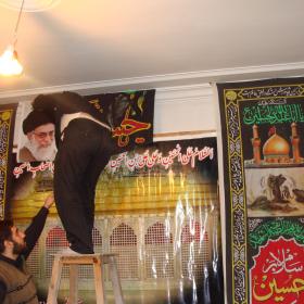 سوگواره دوم-عکس 30-پوستر هیأت مکتب الحسین بهشهر-جلسه هیأت فضای بیرونی